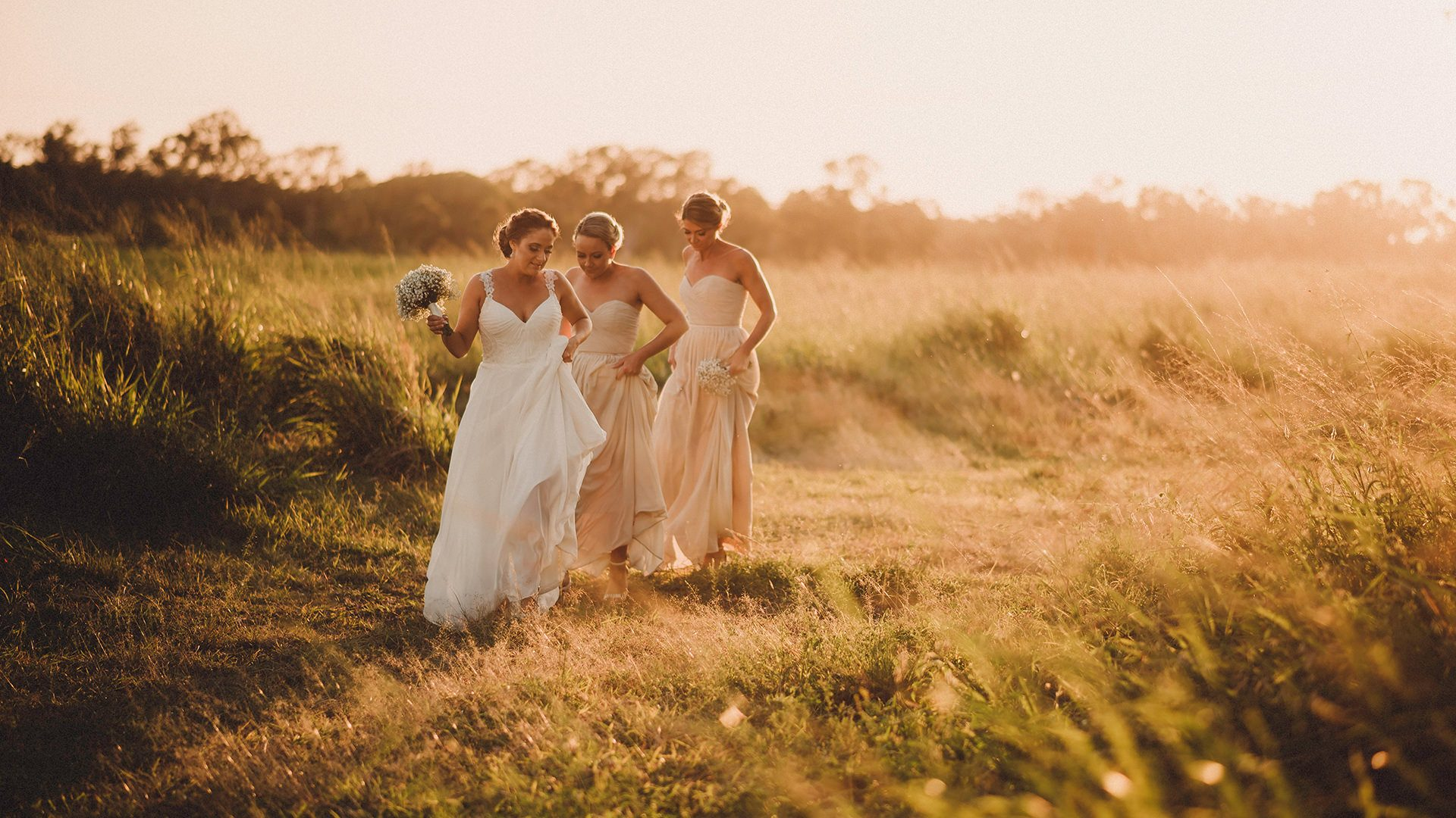 candid Bride and Bridesmaids