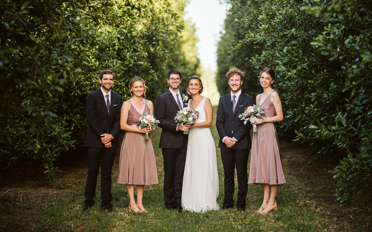 Bride and Groom with attendants