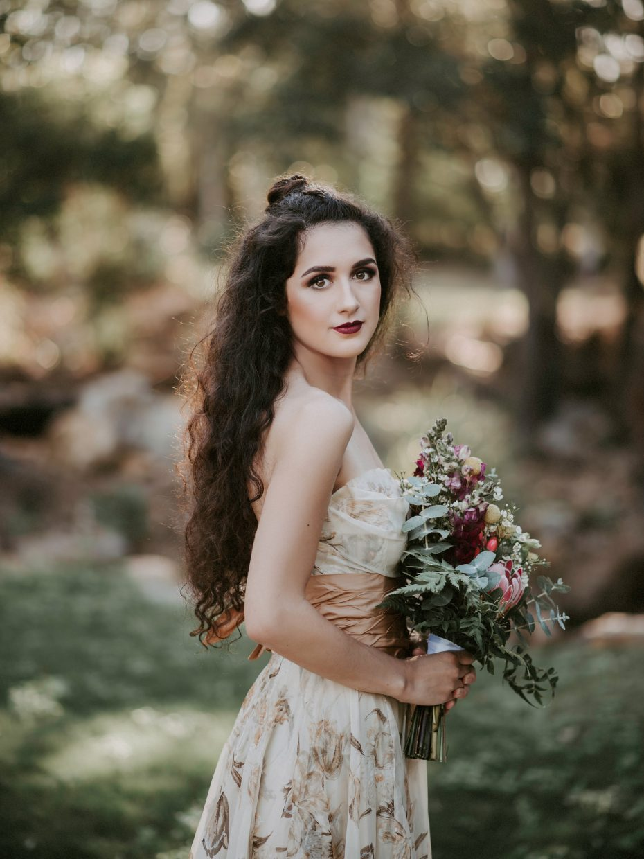 Styled Bridal model at Eleven Acres Wedding Venue.