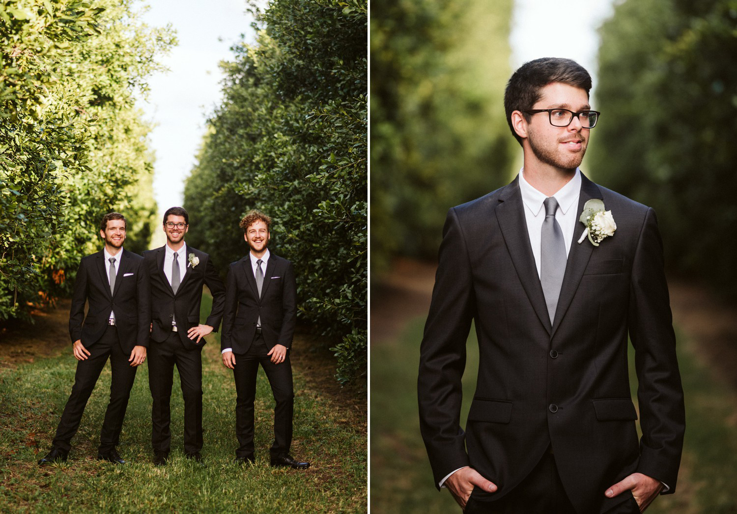Groom and Groomsmen in Orchard