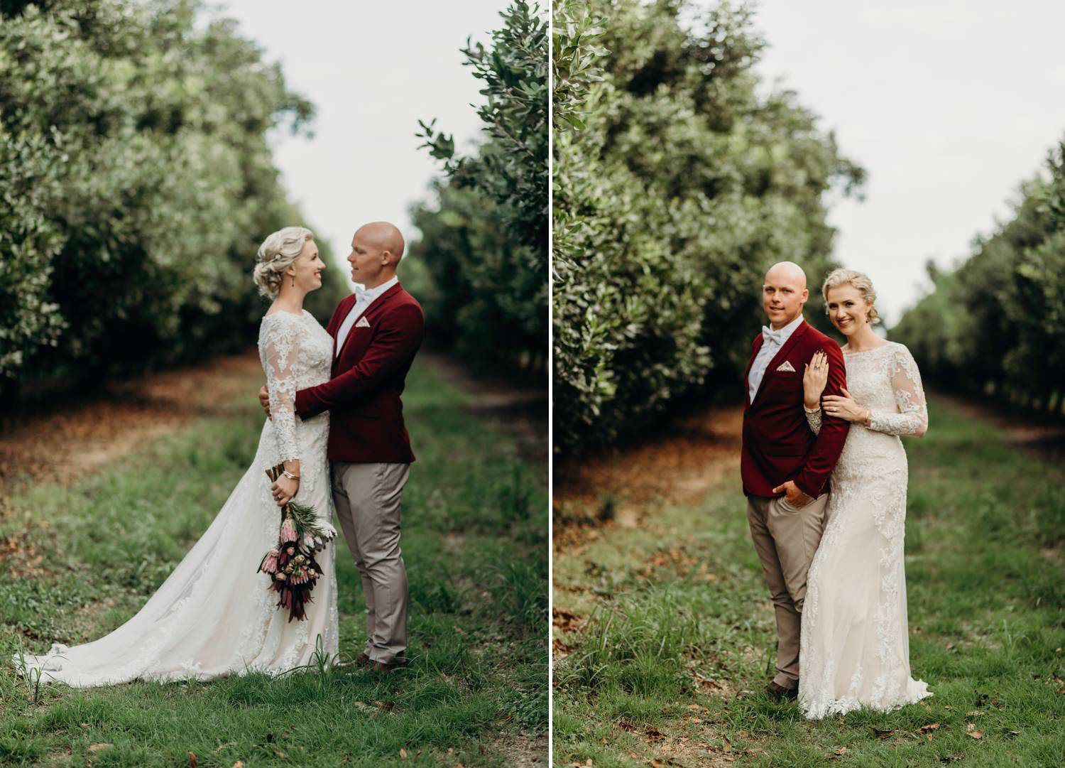 Bride and Groom standing in orchard
