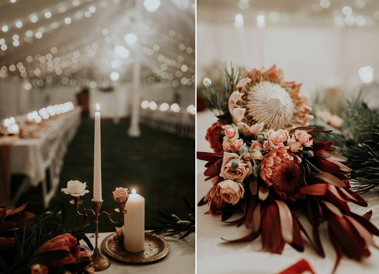 Reception decor at rustic wedding