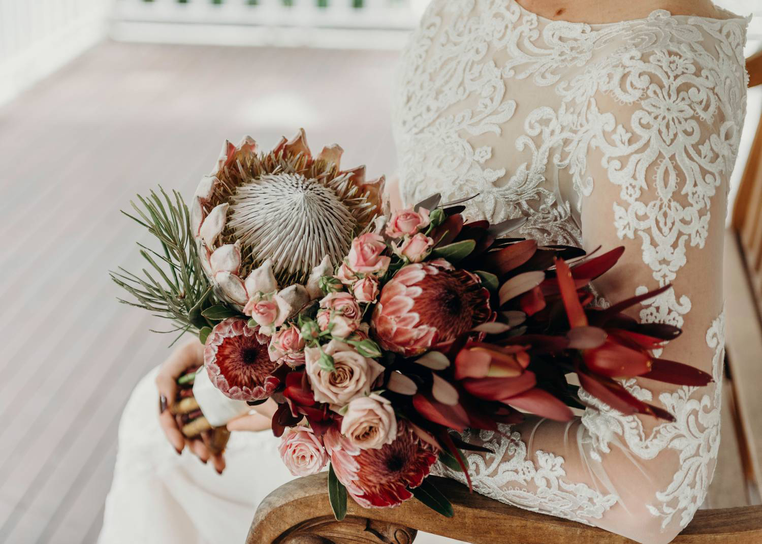 Wedding Bouquet with King Protea and Roses