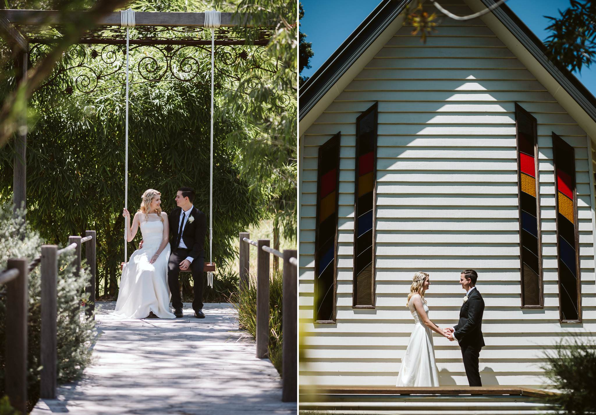 Bride and Groom sitting on a swing