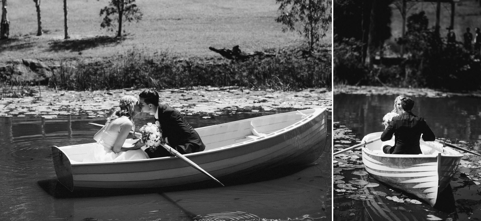 Bride and Groom in a row boat