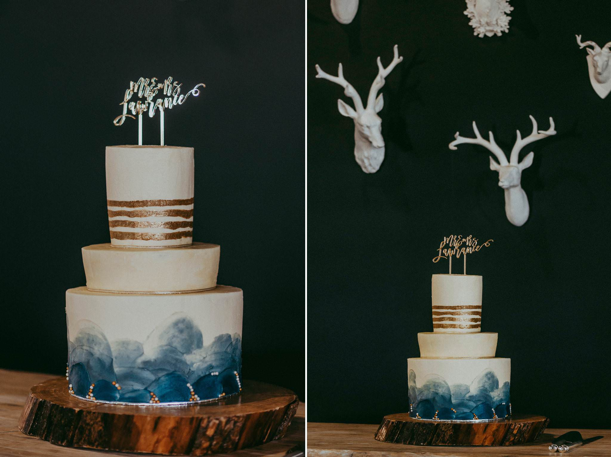 Wedding Cake with blue and gold