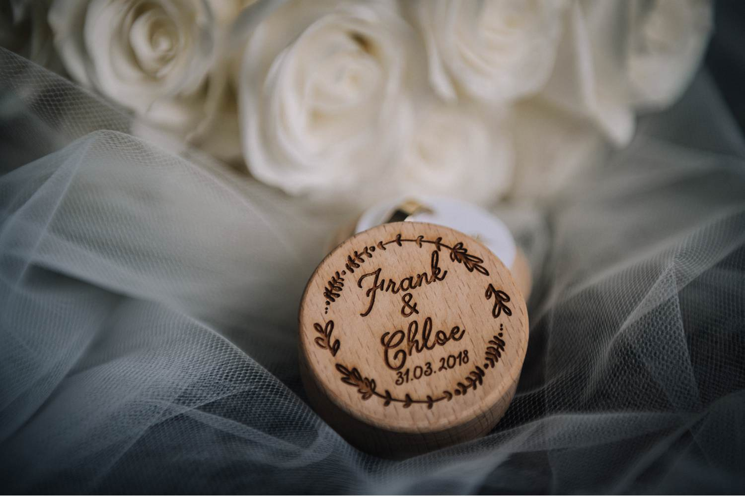 Box with wedding rings