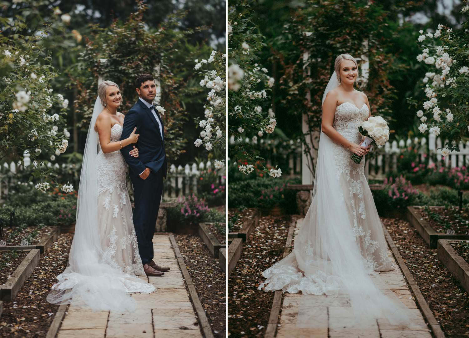 Bride and Groom in rose garden at In the Grove