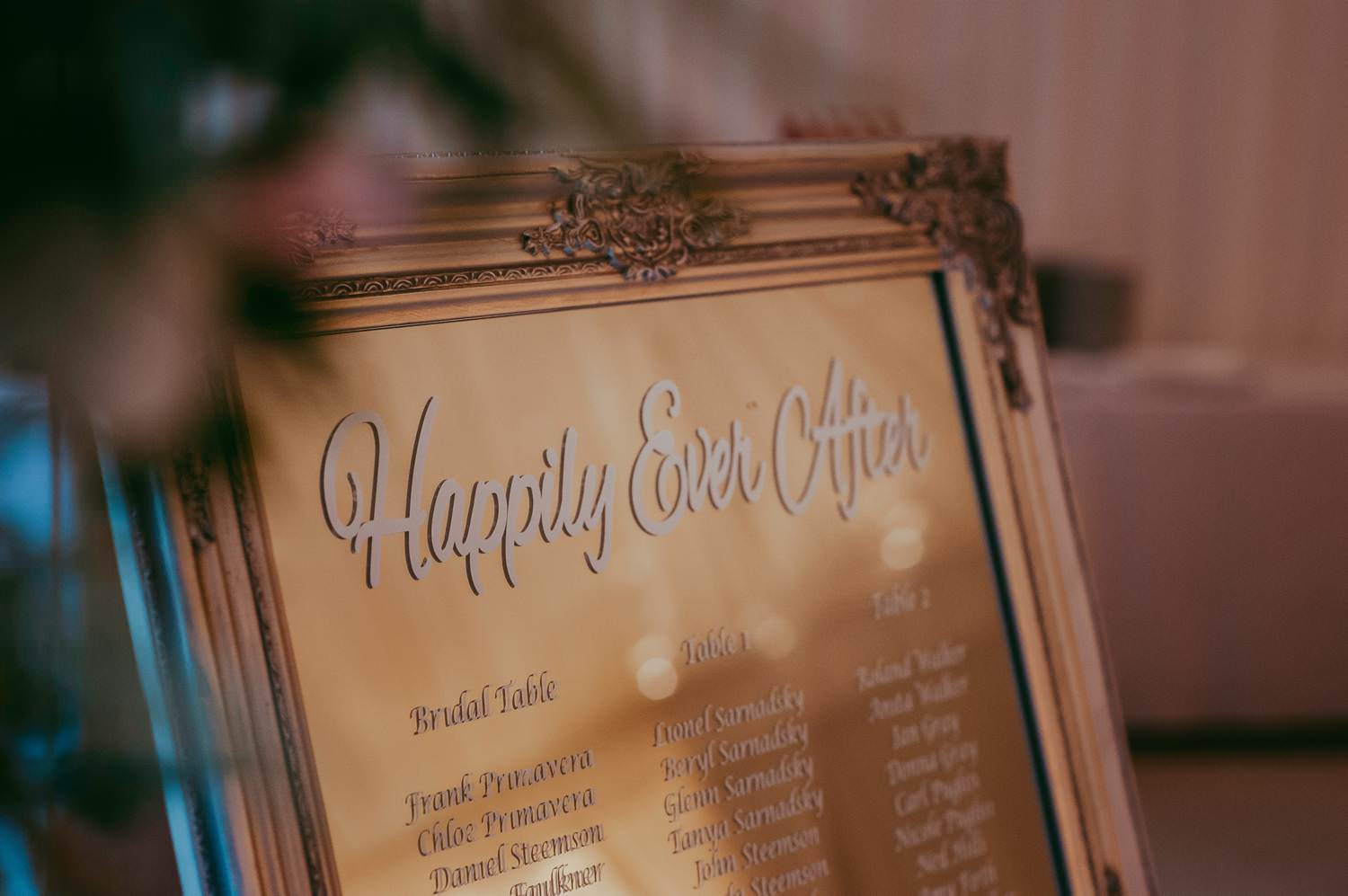 Wedding Guests list on a gold mirror