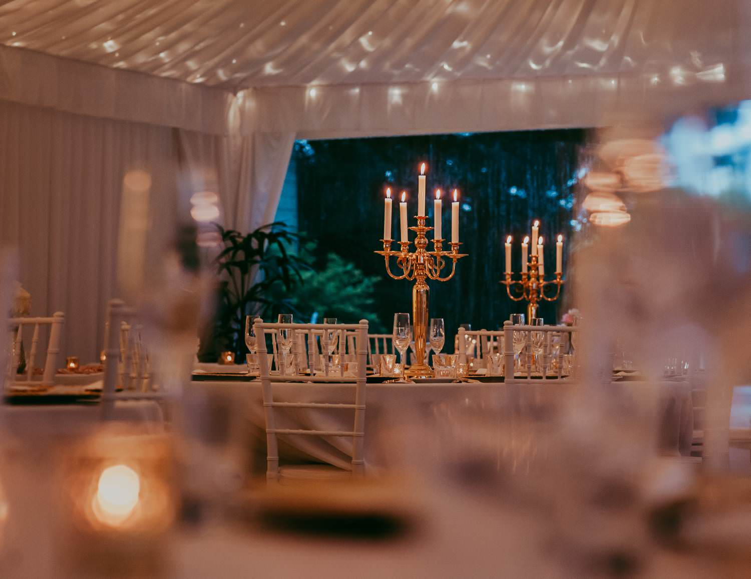 Wedding Reception room with candles
