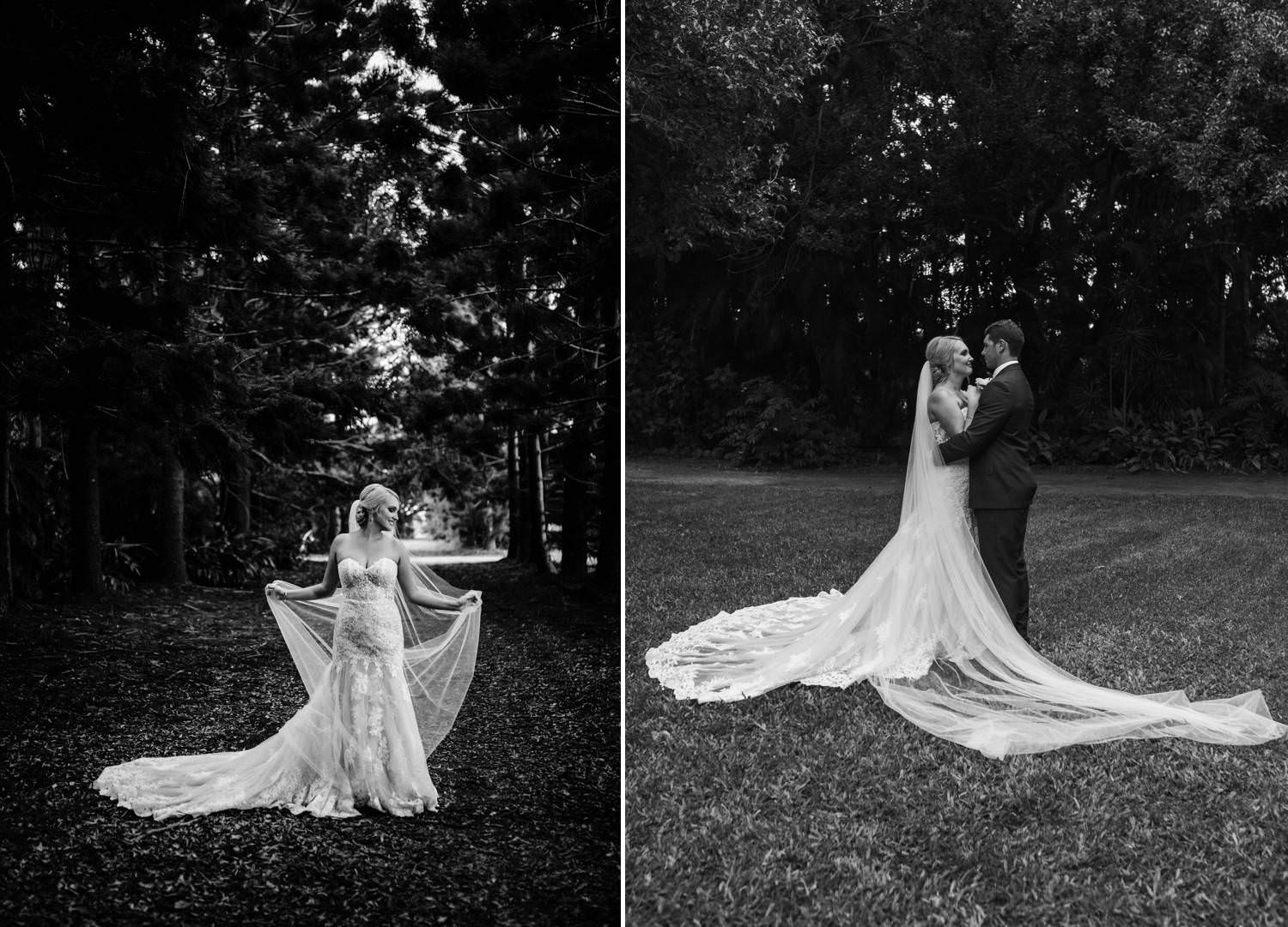 Bride standing in a grove of trees