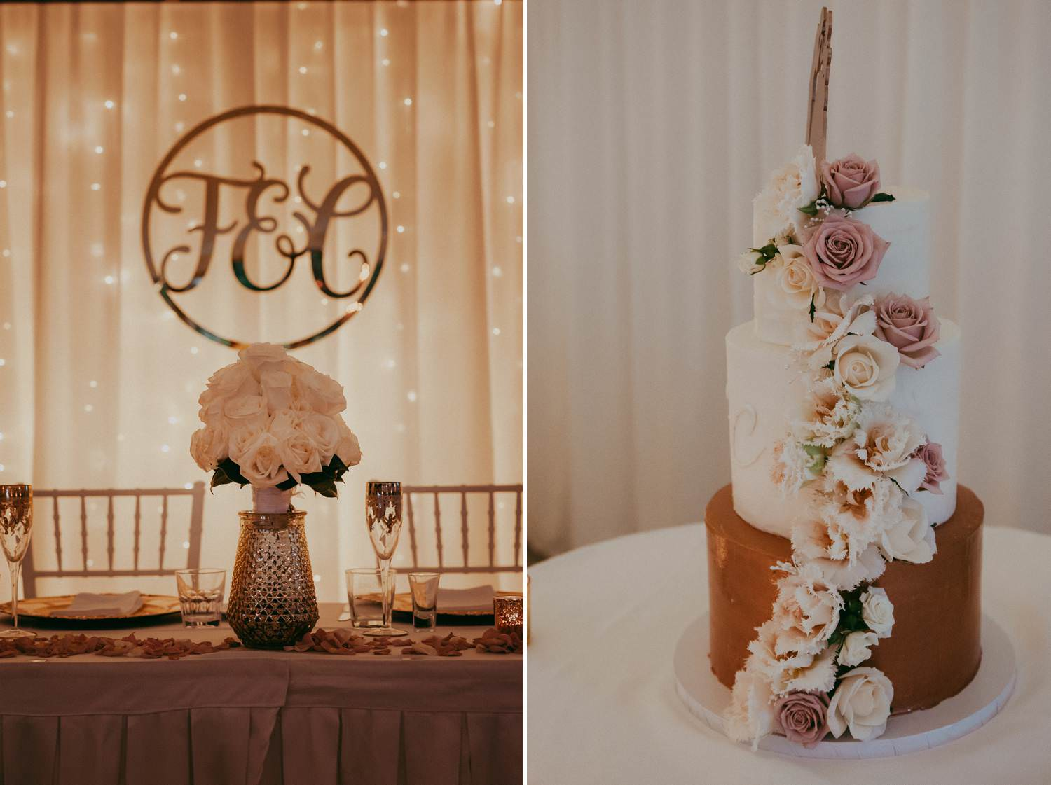 Wedding Reception decorations in gold and pink