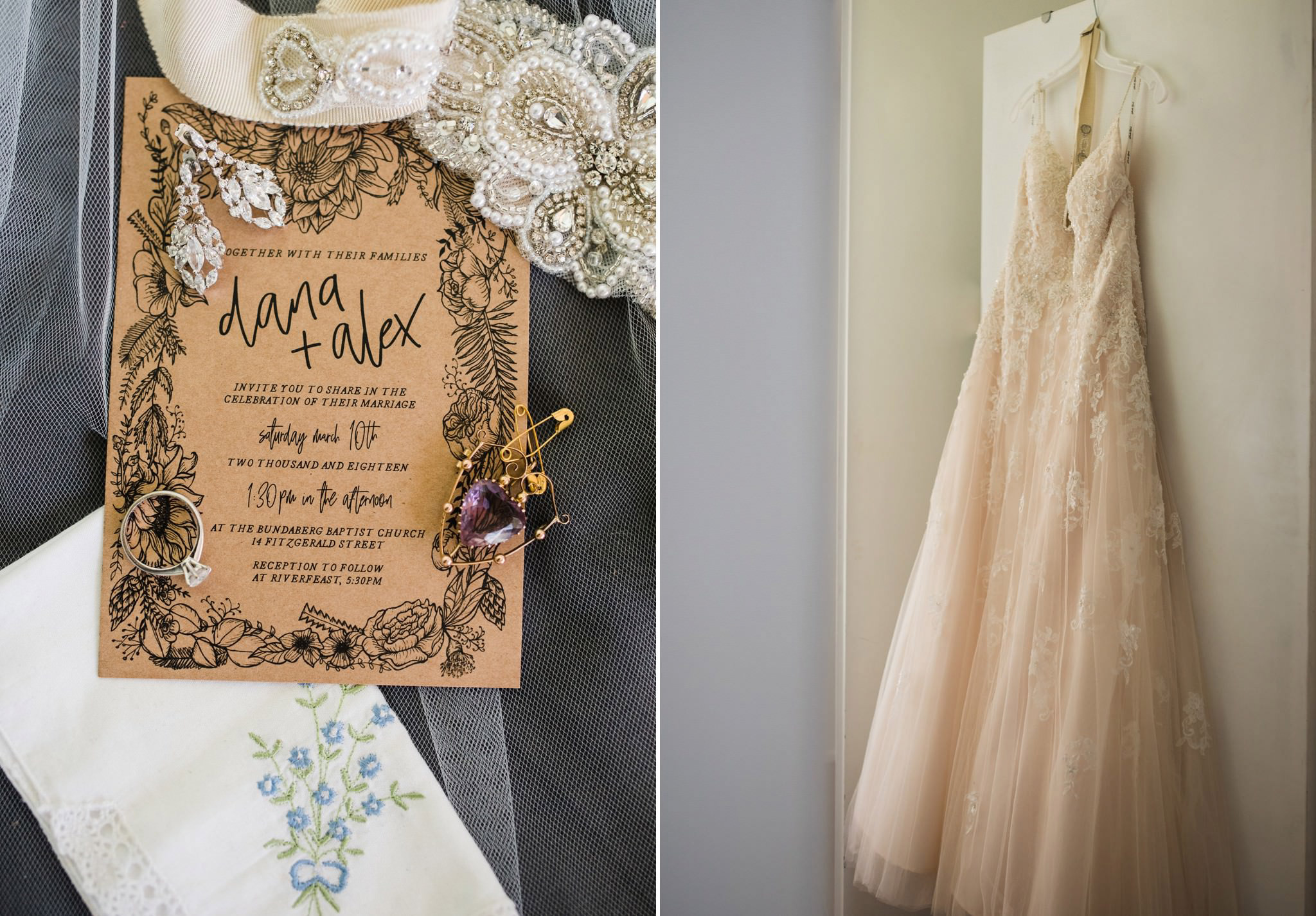 Wedding Invitation with dress, rings
