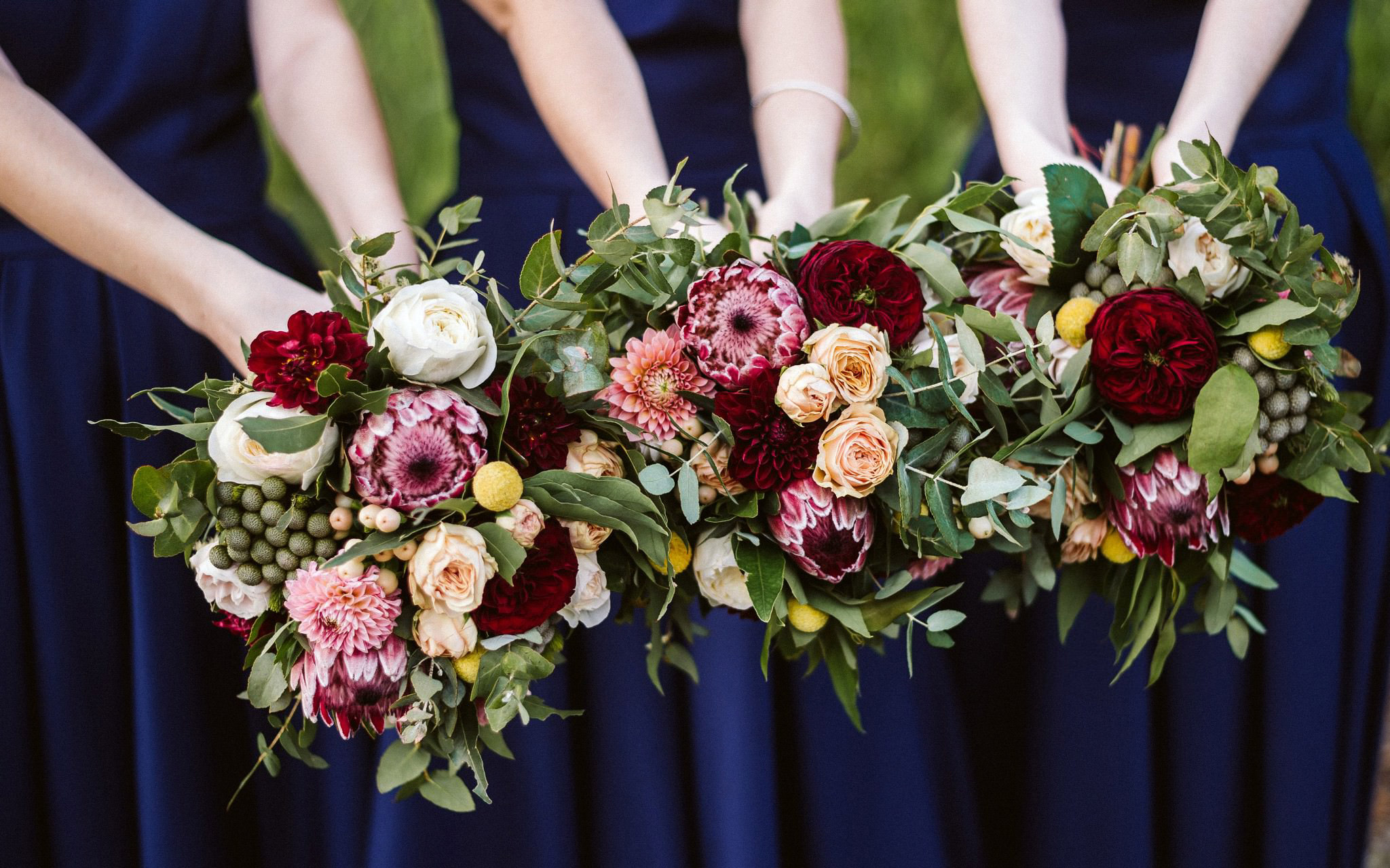 Wedding Bouquets in yellow, red and white flowers