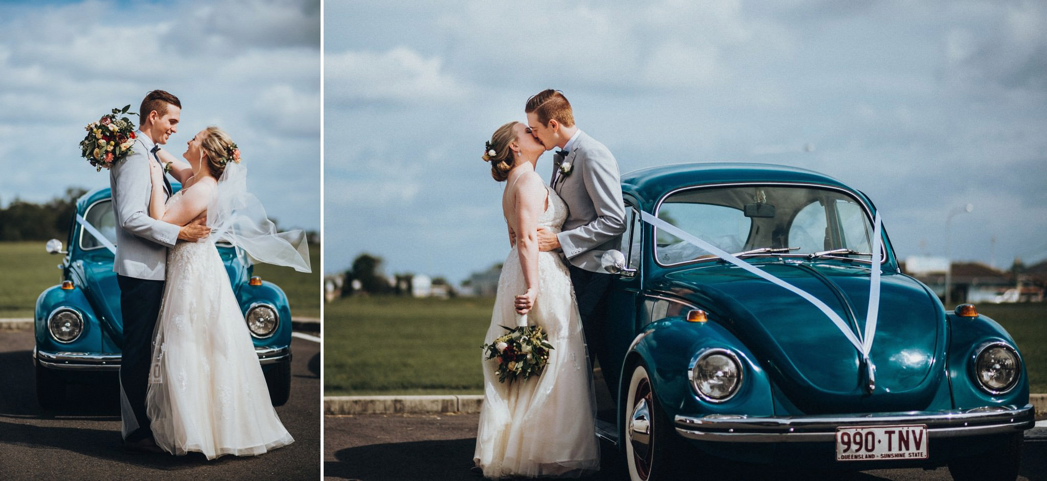 Bride and Groom with a blue car