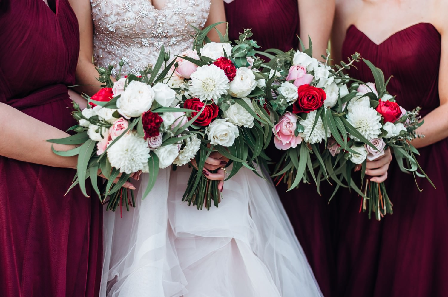 Bouquets with red, pink and white flowers
