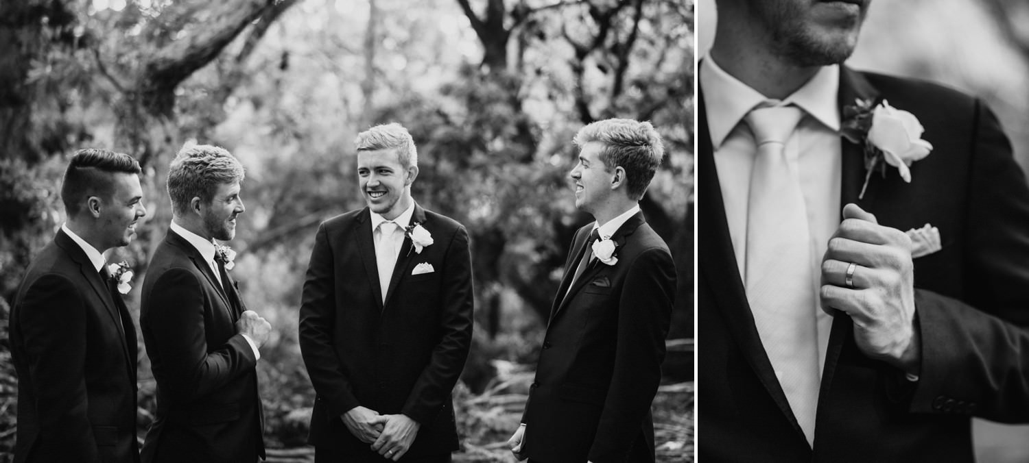 Grooms men laughing