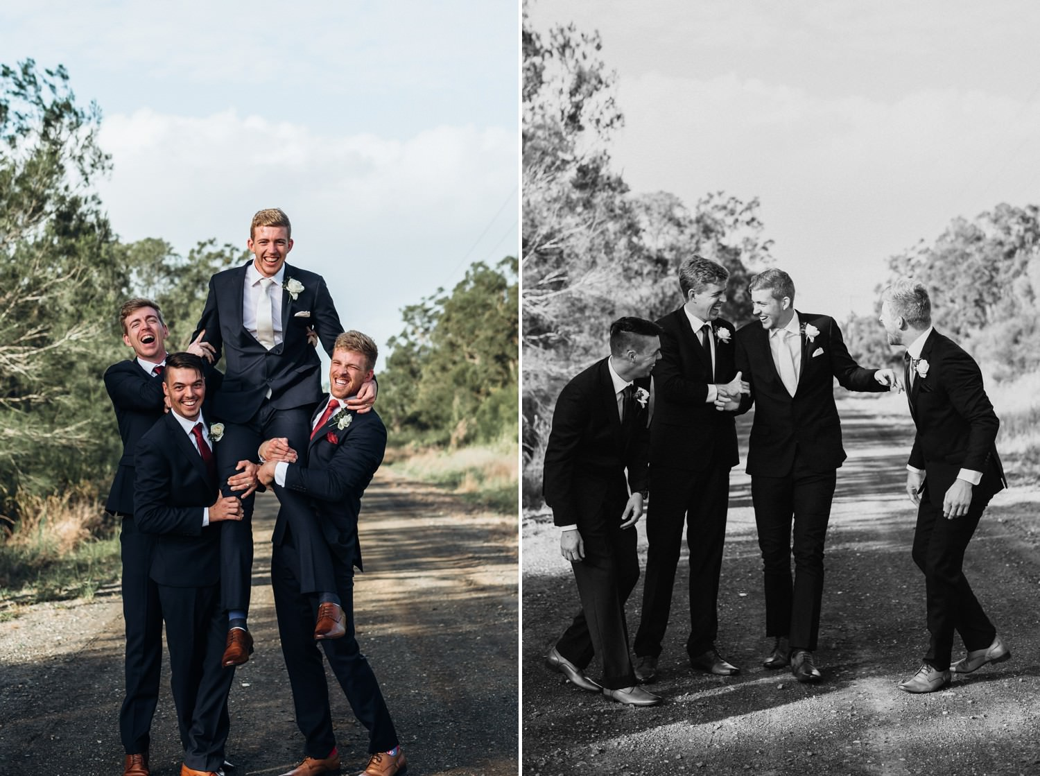Groom sitting on groomsmen shoulders