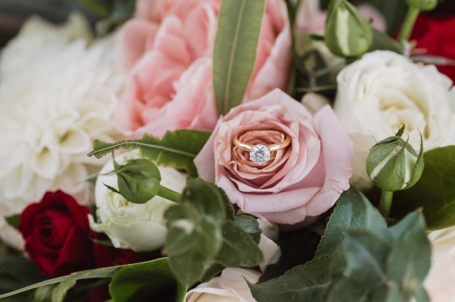 Engagement ring sitting in a pink flower