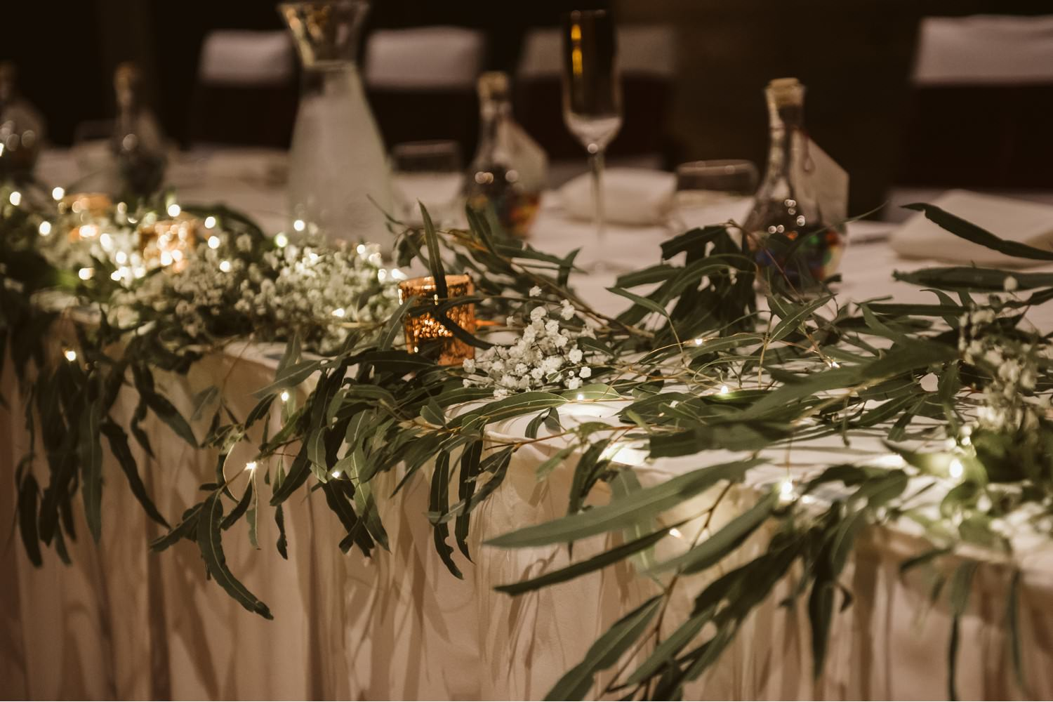 Gum leaves on Bridal Table