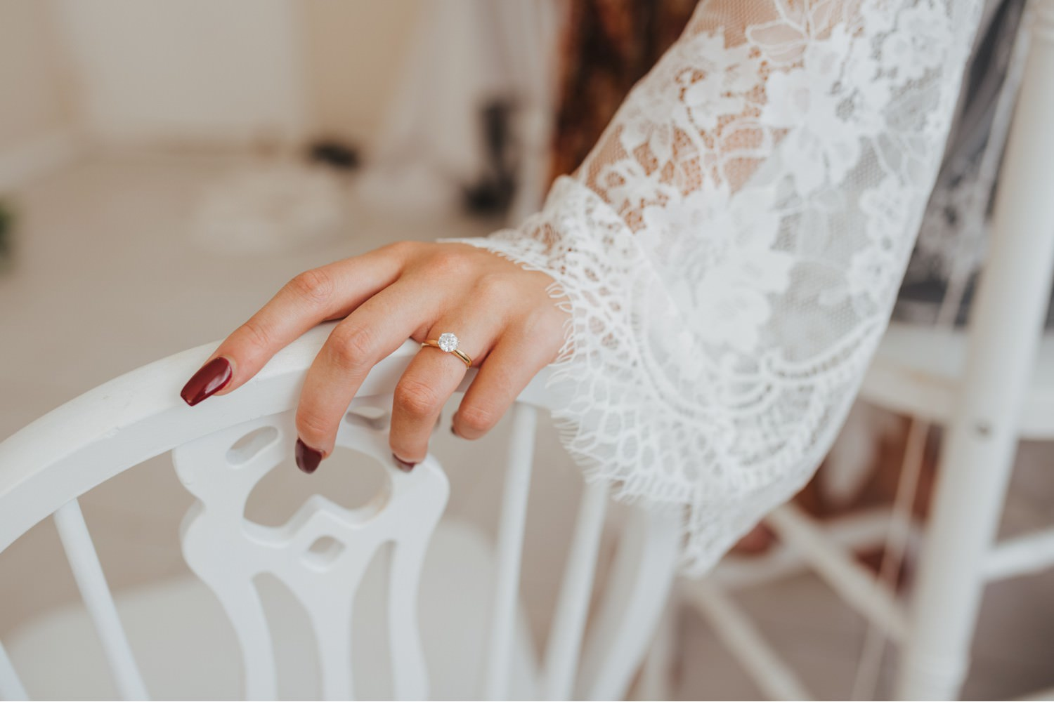 Brides hand with Engagement ring