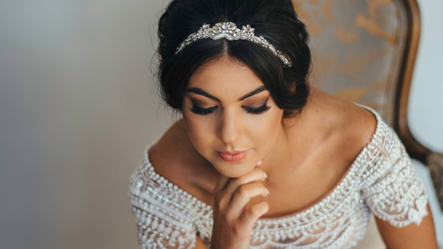 Bride face with tiara