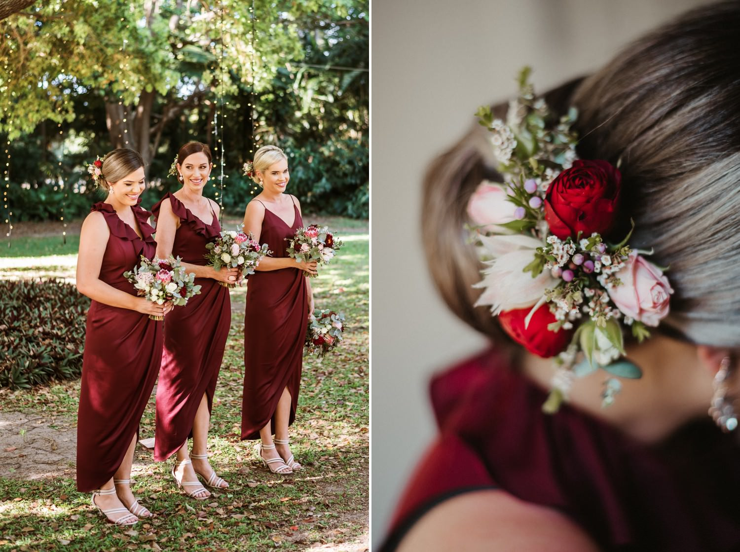 Bridesmaids in merlot coloured dresses carrying bouquets with roses and native flowers.