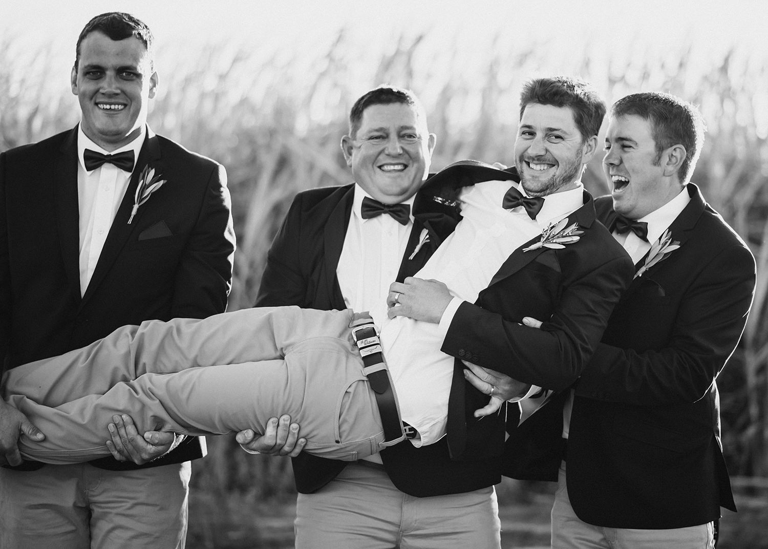 Groomsmen carrying groom and laughing