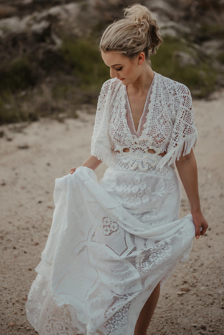 Woman in vintage lace dress