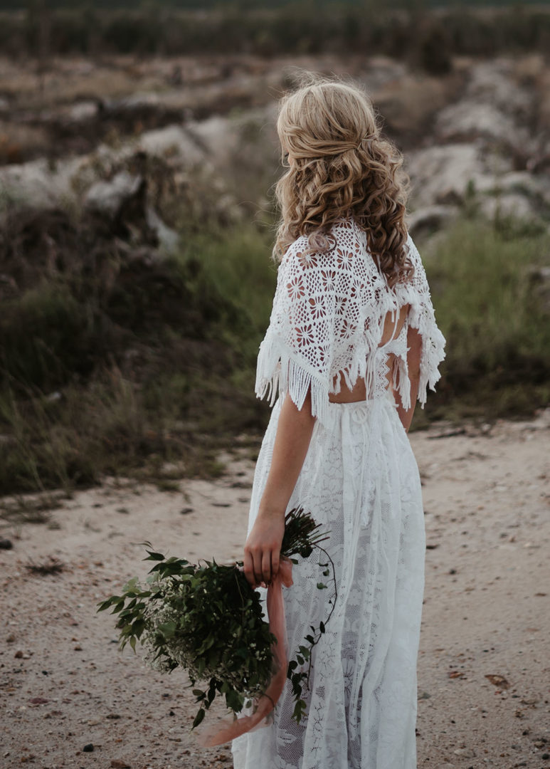 back of white vintage lace gown