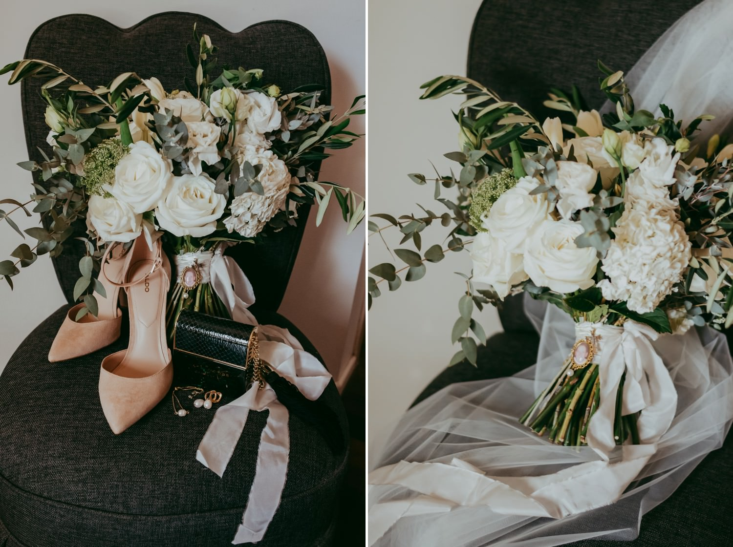 White wedding bouquet on a chair