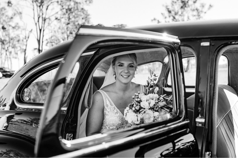 Bride in vintage Buick