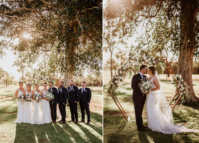 wedding party under tree