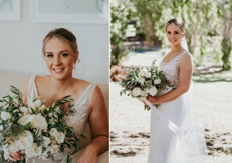 Bride holding bouquet flowers