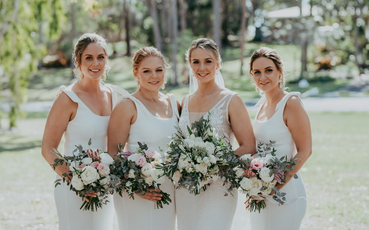 Bridal Party in classic white dresses