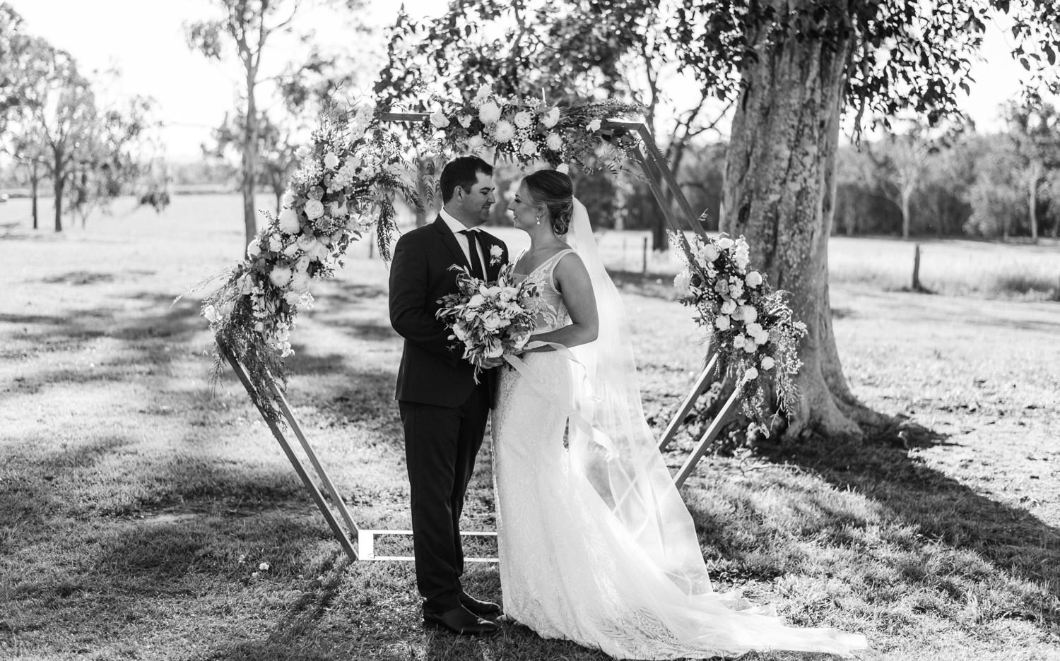 bride and groom black and white