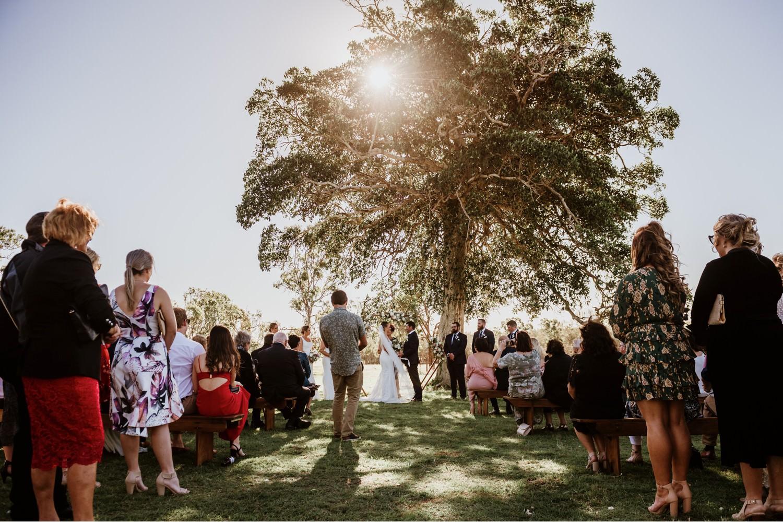 sunlit wedding ceremony