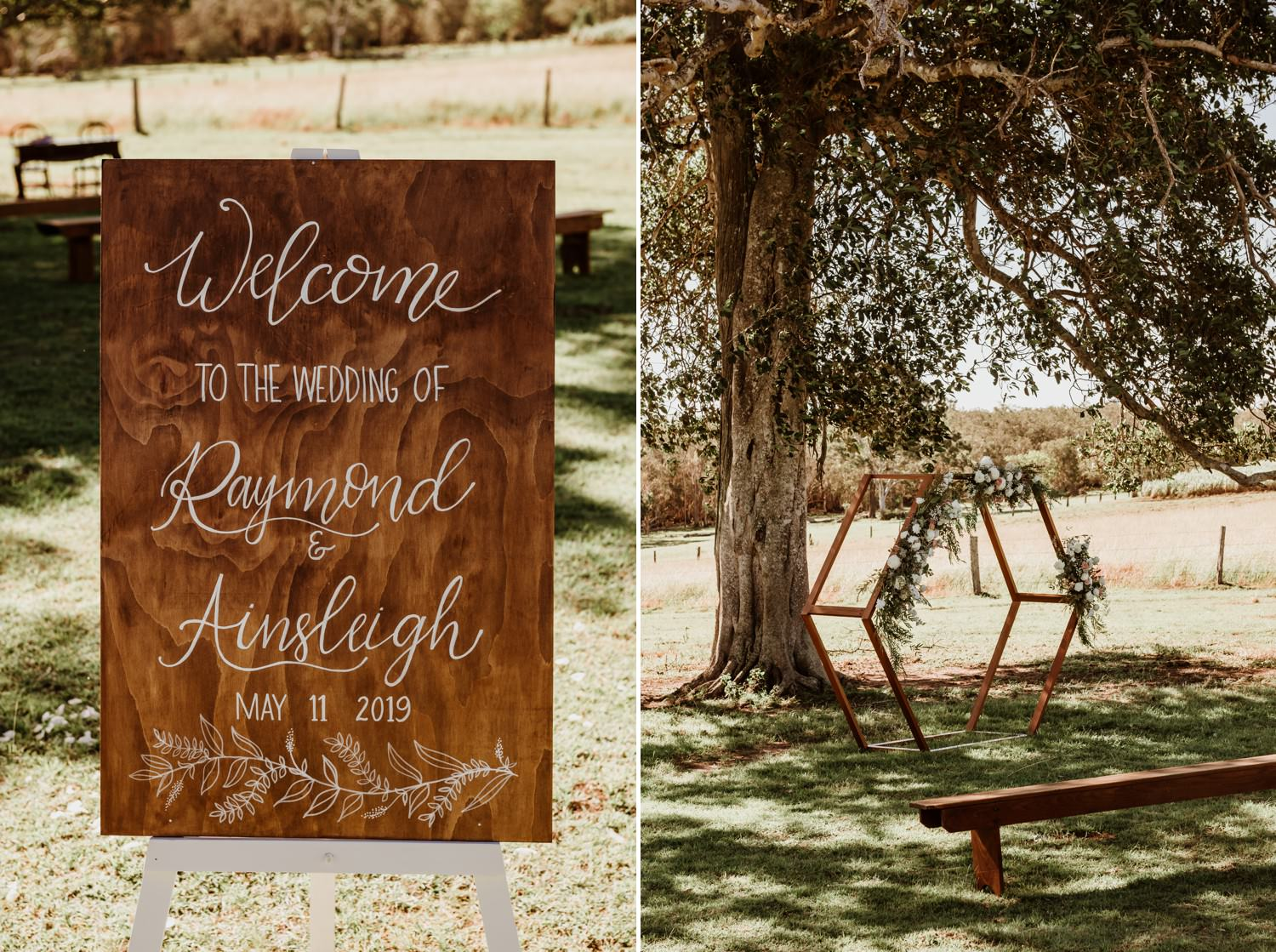 Country Timber wedding sign