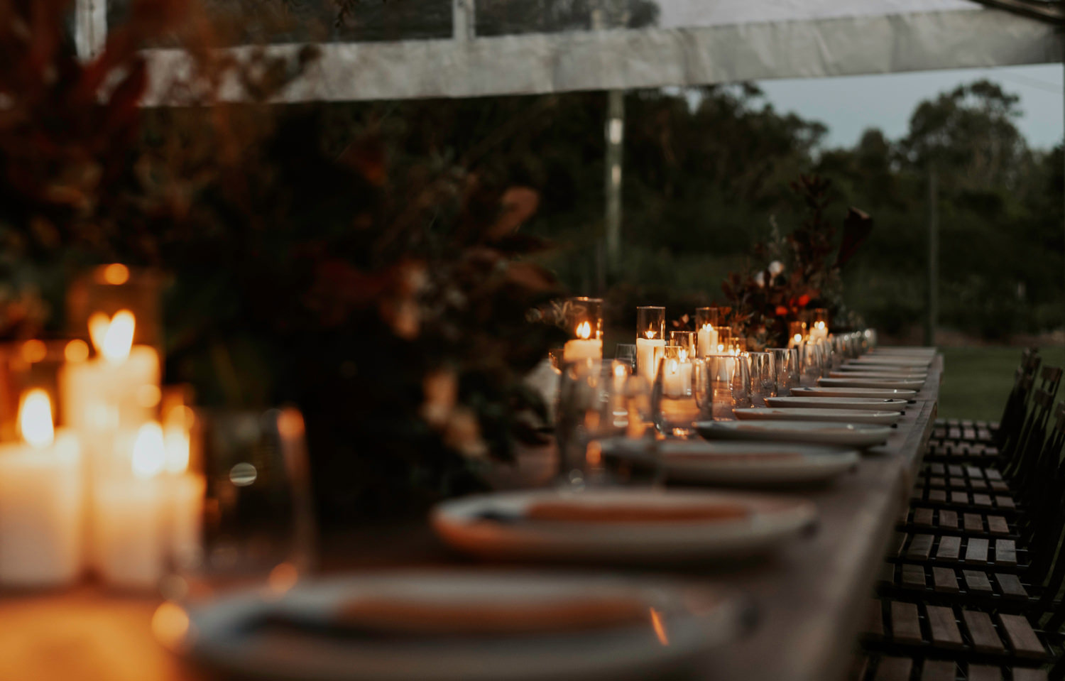 Candle light reception table decor